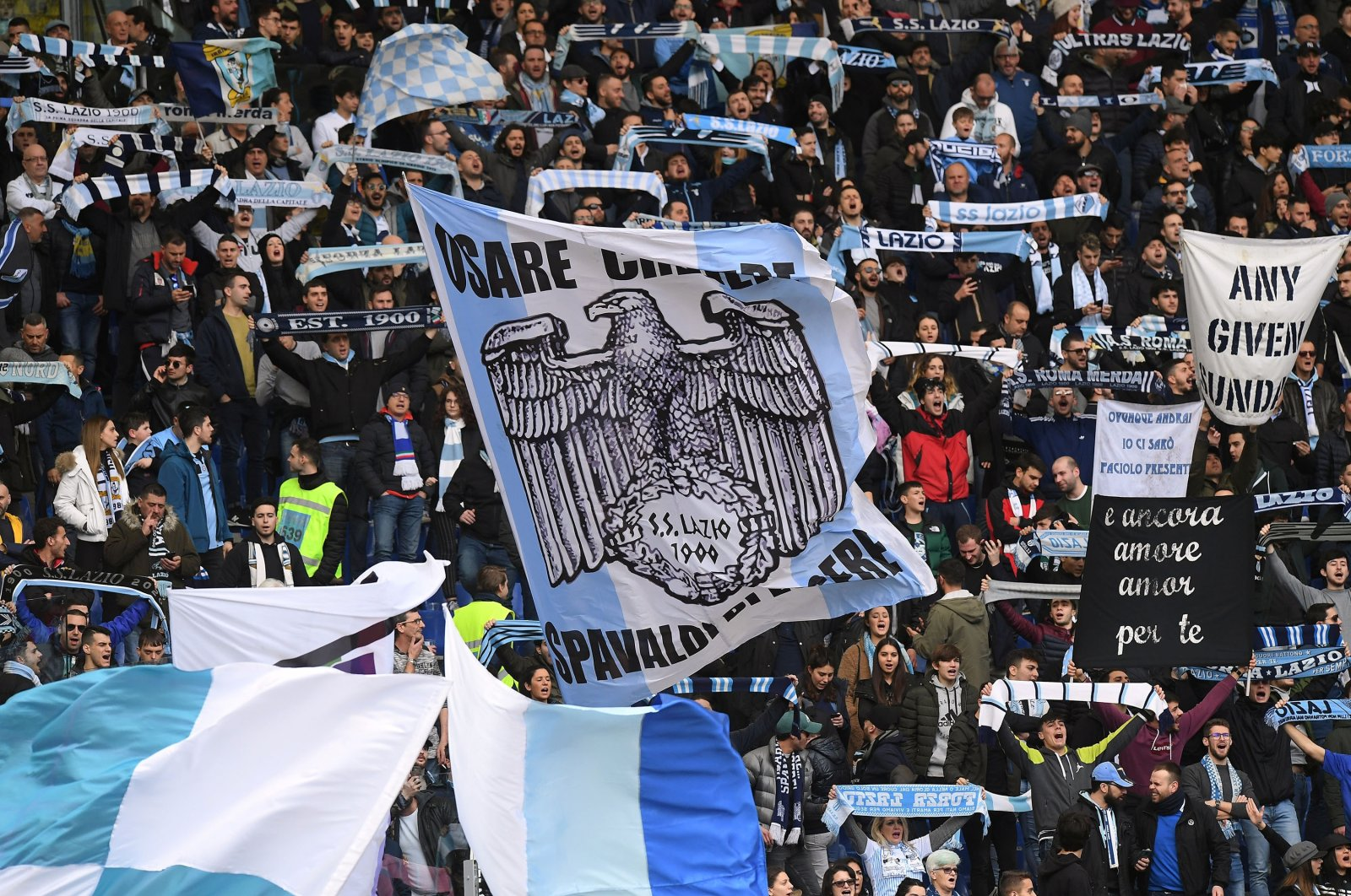 Lazio fans inside the stadium before a match against SPAL, Stadio Olimpico, Rome, Italy, Feb. 2, 2020. (Reuters Photo)