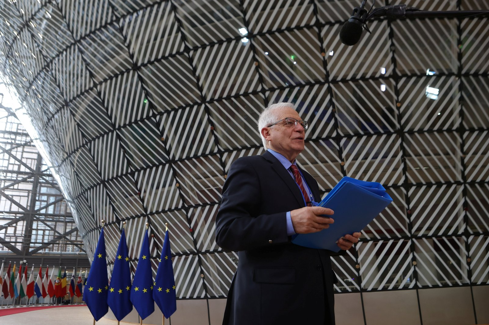 European Union Minister for Foreign Affairs Josep Borrell speaks to media prior to an EU foreign ministers meeting in Brussels, Belgium, March 22, 2021. (Reuters Photo)
