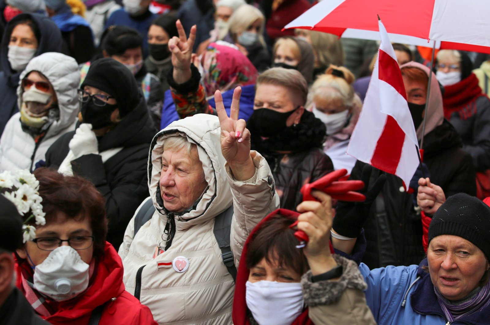 Belarusian opposition supporters attend a rally to protest against the results of a  presidential election and urge President Alexander Lukashenko to step down in Minsk, Belarus, Nov. 2, 2020. (Reuters Photo)