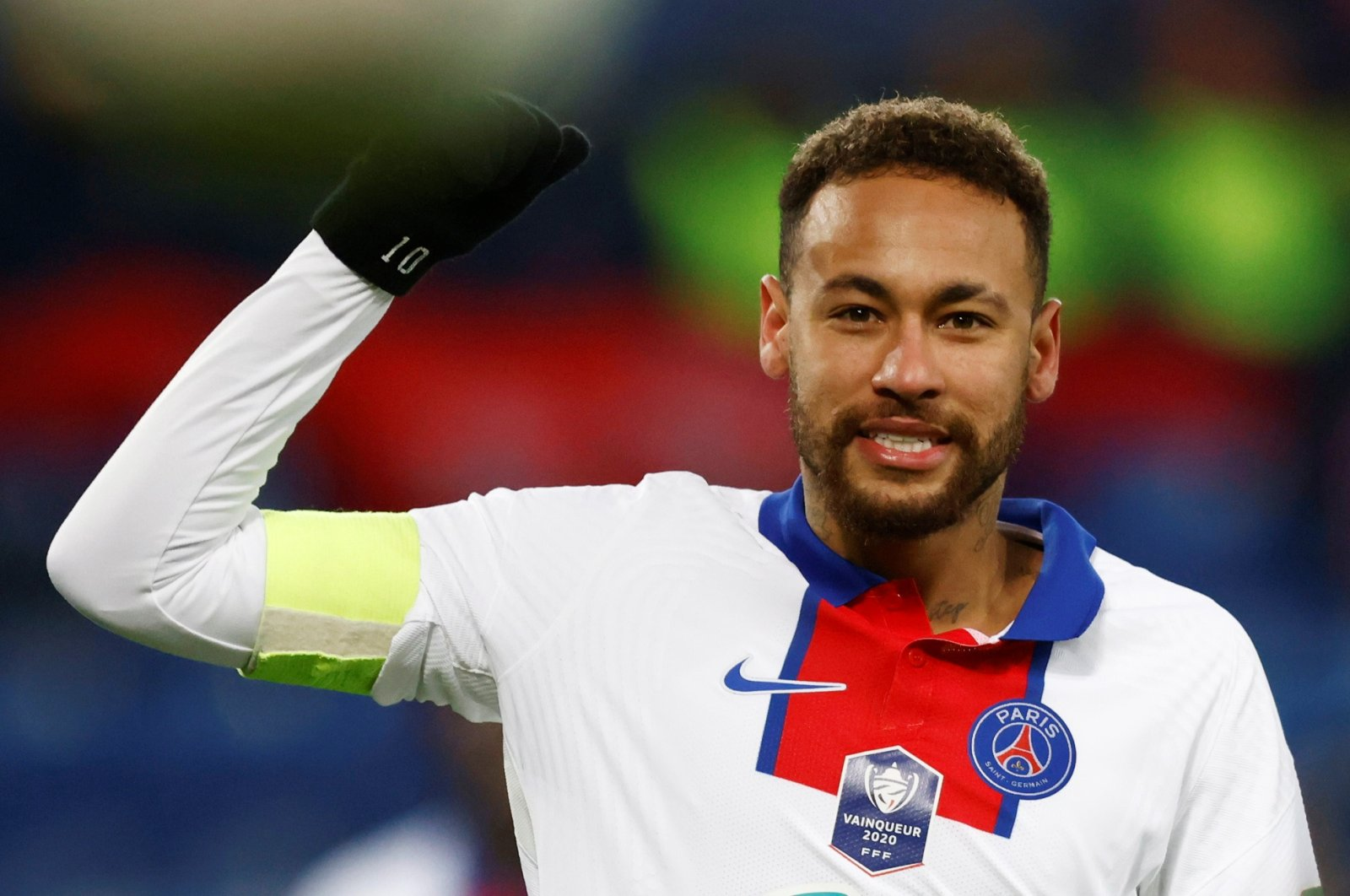 French football club Paris Saint Germain's Neymar gestures in a French CupRound of 64 game against Caen atStade Michel d'Ornano, Caen, France, Feb. 10, 2021. (Reuters Photo)