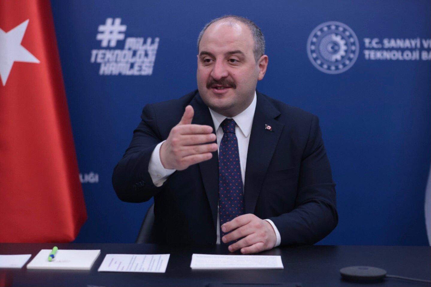 Industry and Technology Minister Mustafa Varank attends the Uludağ Economy Summit via videoconference, Ankara, Turkey, March 25, 2021. (AA Photo)