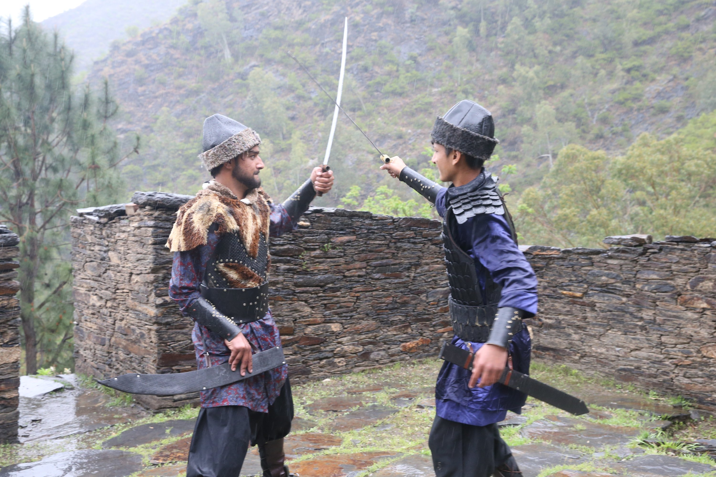 Two youngsters act out a scene for their 'Pakistani Ertuğrul,' Swat, Pakistan, March 25, 2021. (AA Photo)