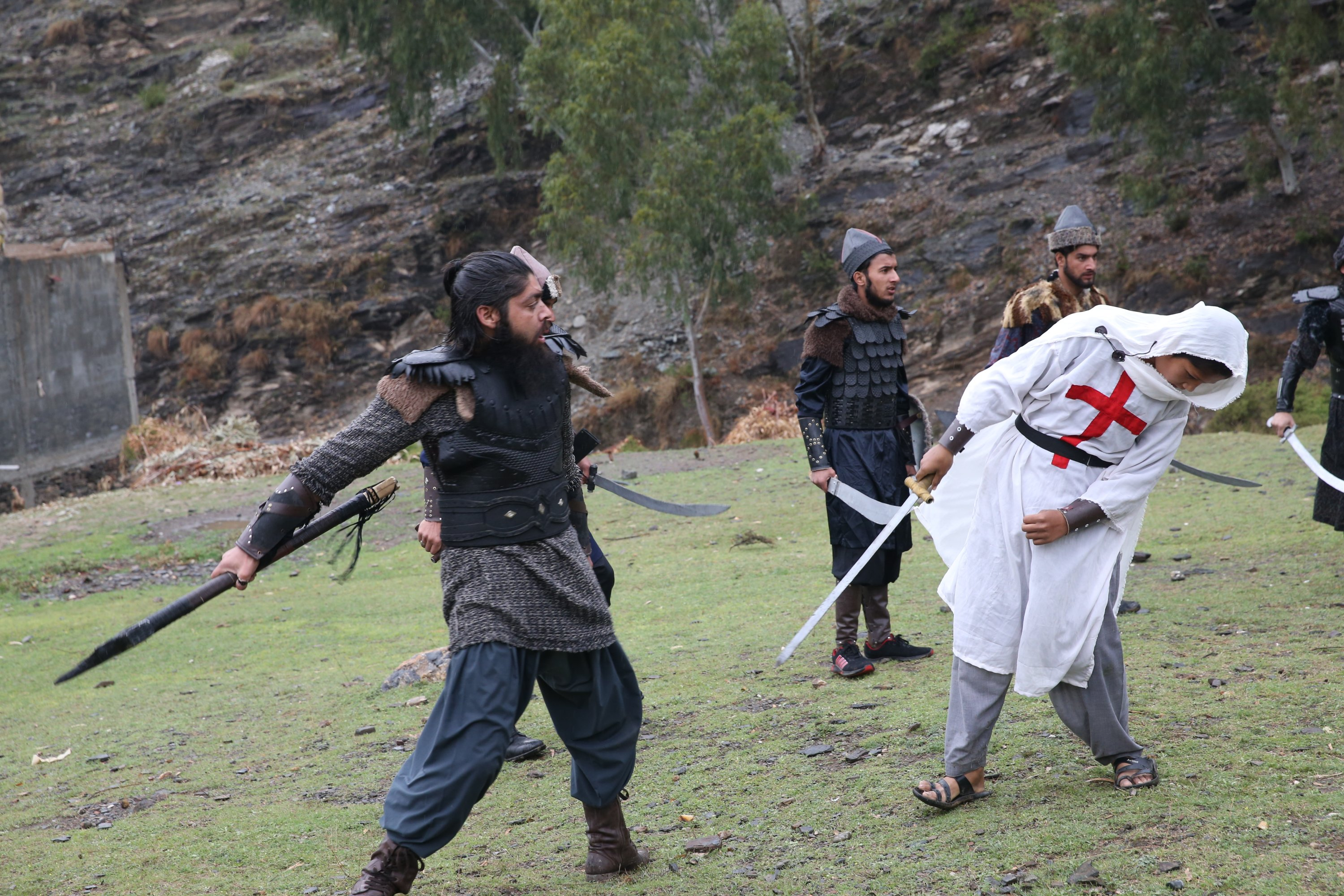 Youngsters act out a scene for their 'Pakistani Ertuğrul,' Swat, Pakistan, March 25, 2021. (AA Photo)