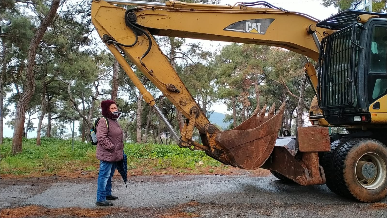 An activist stands in front of a bulldozer preparing to demolish a stable, Heybeliada, Istanbul, Turkey, March 25, 2021. (DHA PHOTO)