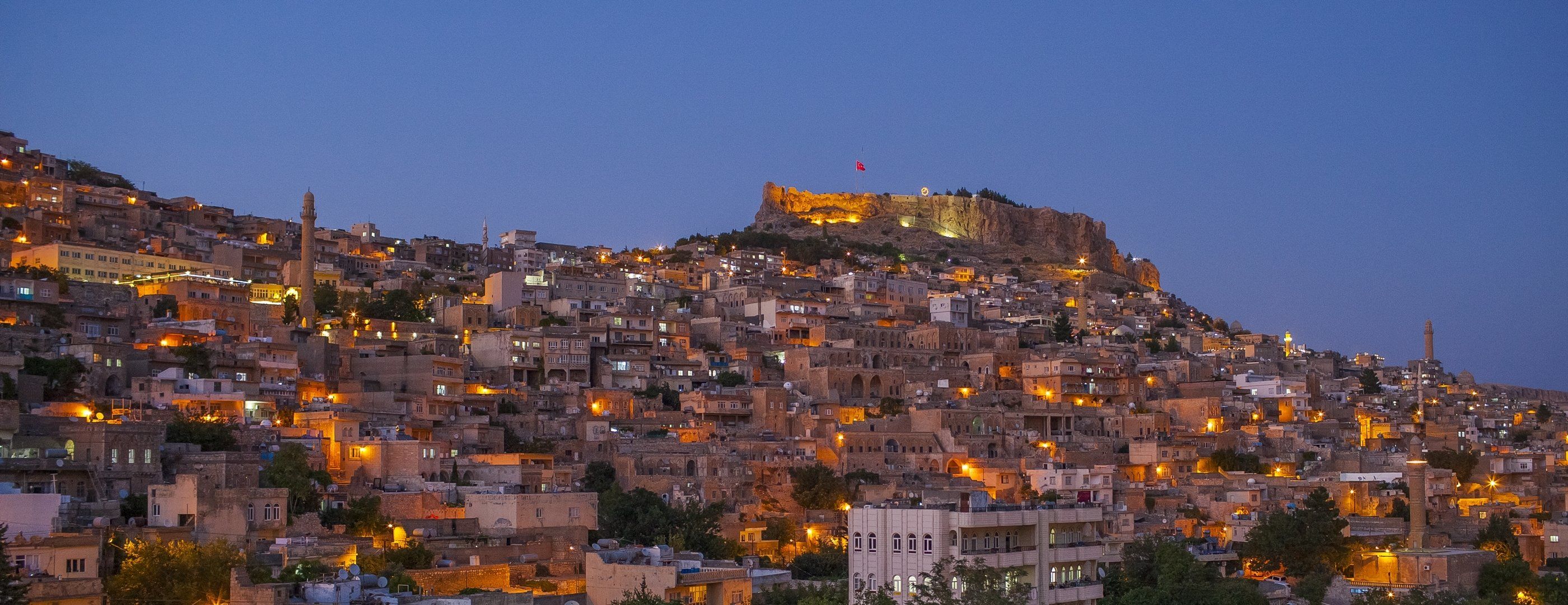 A night view of Mardin shows the historical city adorned with lights, Mardin, southeastern Turkey, March 25, 2021. (DHA Photo)