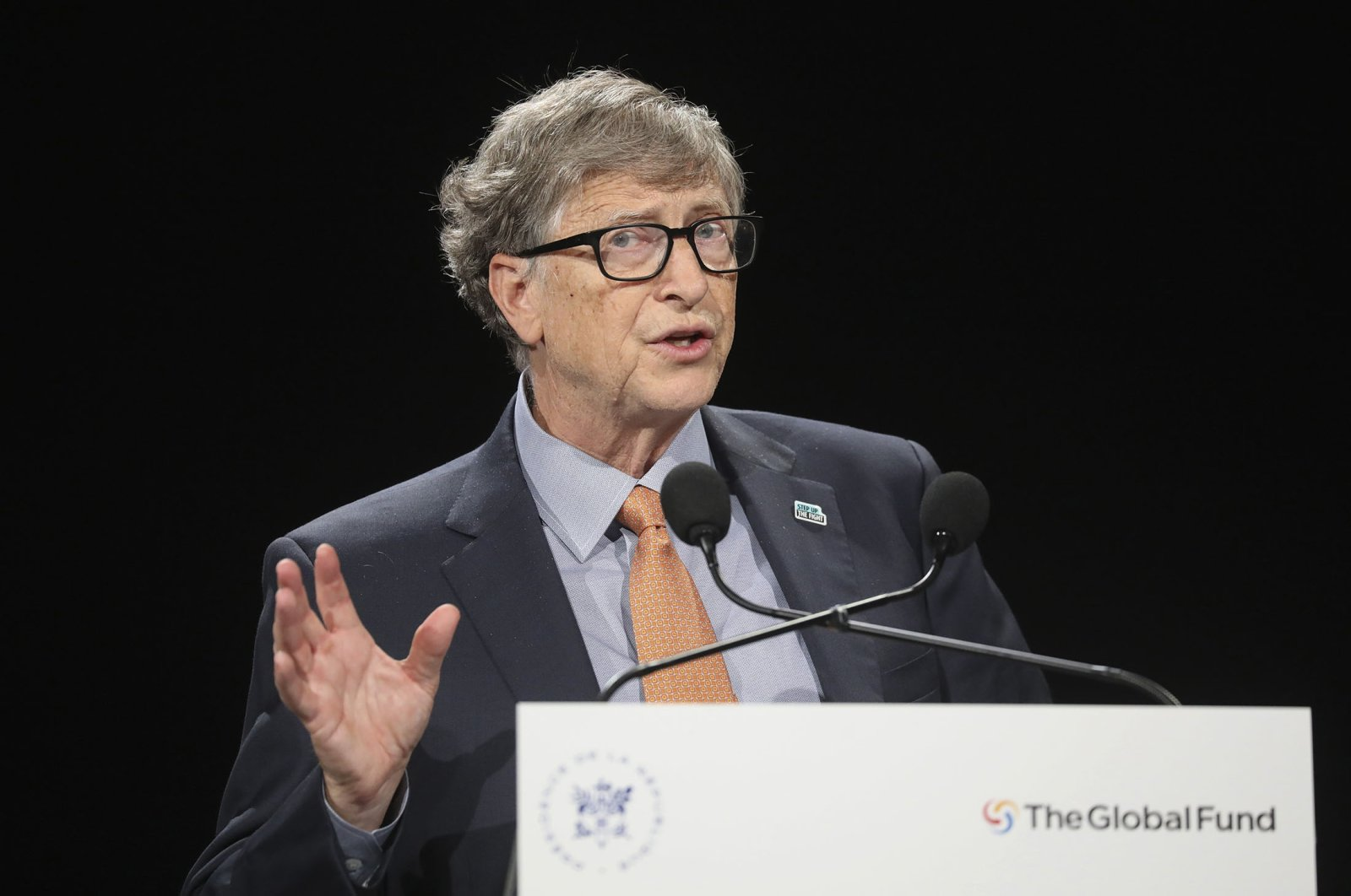 Philanthropist and Co-Chairman of the Bill & Melinda Gates Foundation Bill Gates gestures as he speaks to the audience during the Global Fund to Fight AIDS event, Lyon, France, Oct. 10, 2019. (AP Photo)