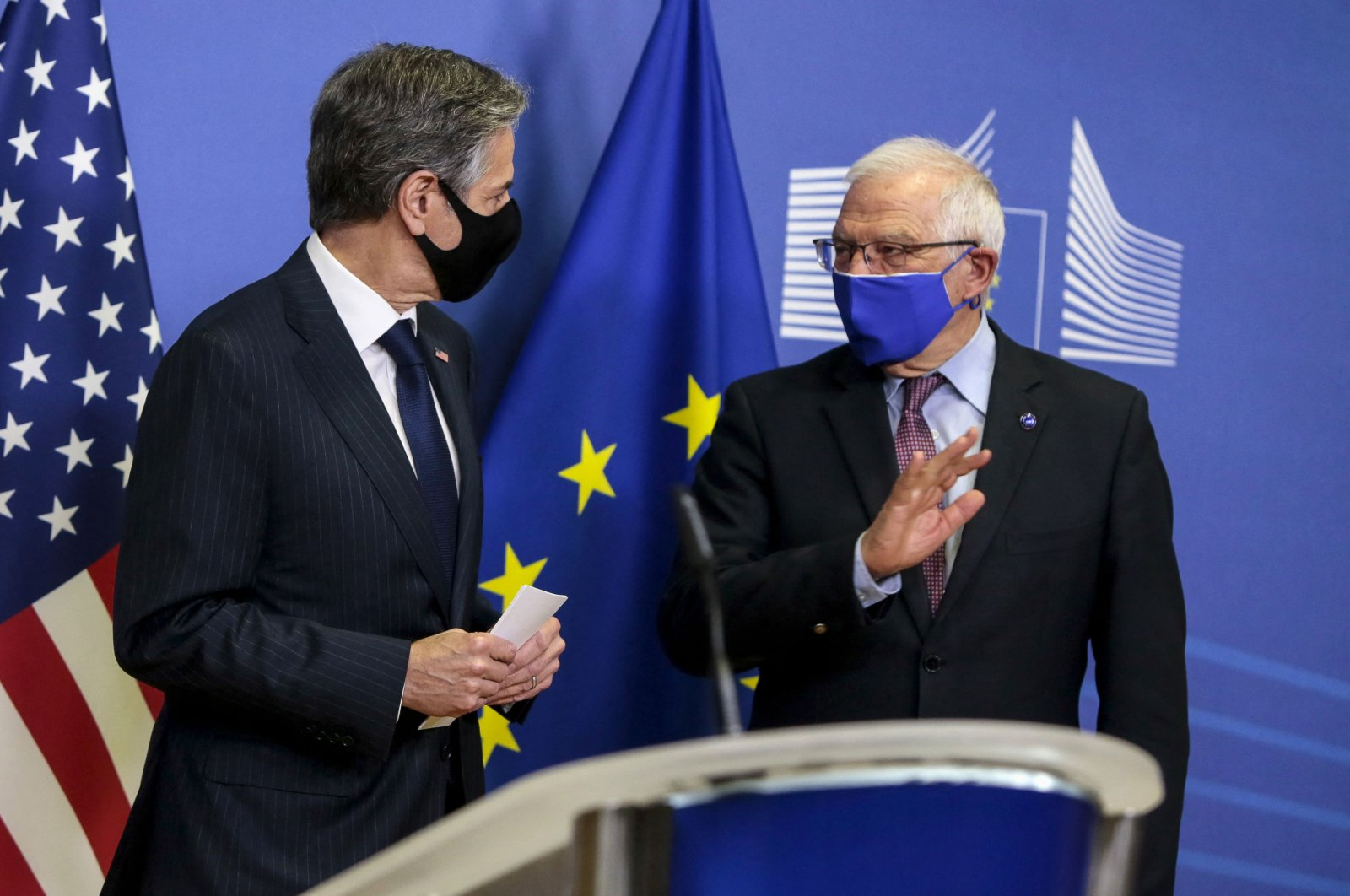 U.S. Secretary of State Antony Blinken (L) and European High Representative of the Union for Foreign Affairs Josep Borrell give a press conference ahead of their meeting at the EU headquarters in Brussels, Belgium, March 24, 2021. (AFP)