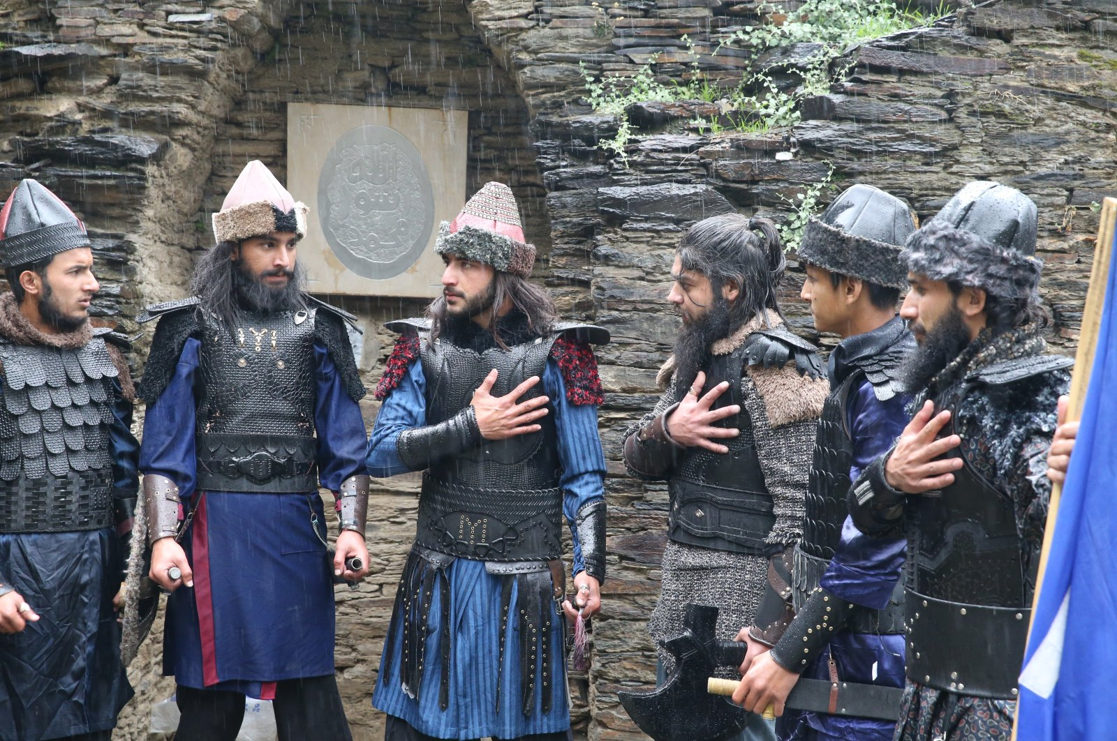 "Youngsters wearing costumes inspired by ""Resurrection Ertuğrul"" act out a scene for their ""Pakistani Ertuğrul,"" Swat, Pakistan, March 25, 2021. (AA Photo)"