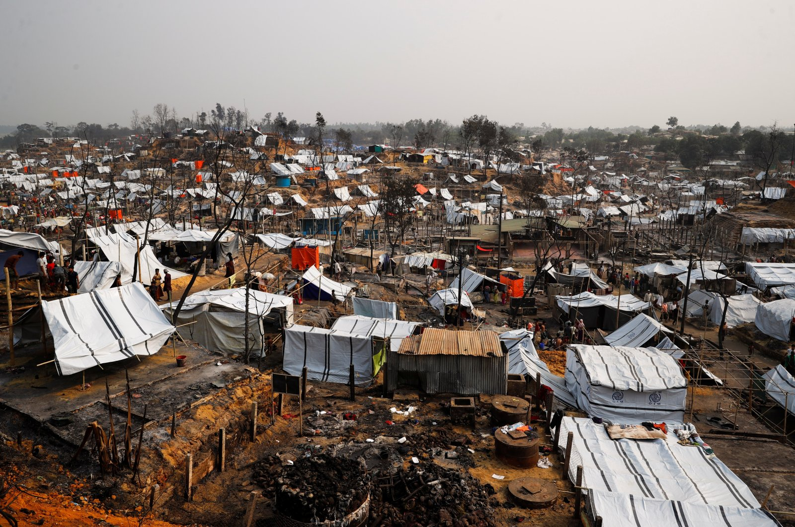 A general view of the Rohingya refugee camp after a massive fire broke out two days ago and destroyed thousands of shelters in Cox's Bazar, Bangladesh, March 24, 2021. (Reuters Photo)