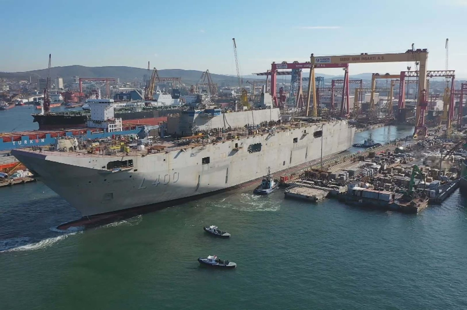 The TCG Anadolu is docked at the Sedef Shipyard in Tuzla, Istanbul, Turkey, Feb. 3, 2020. (DHA Photo)