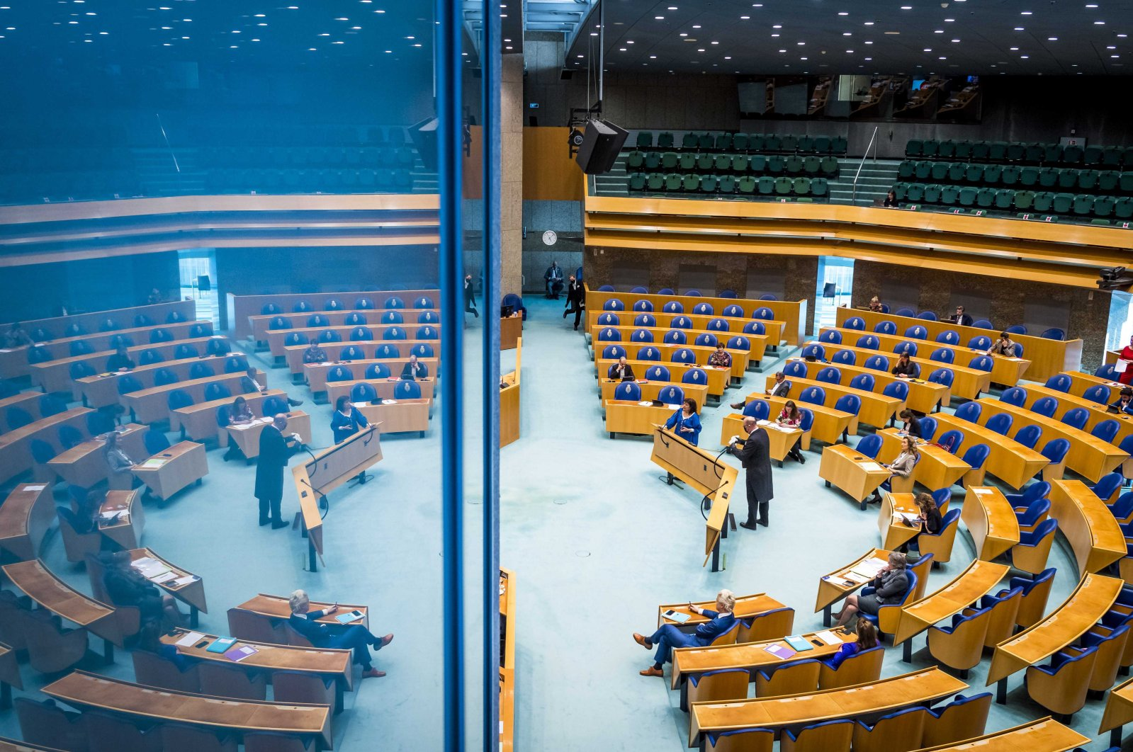 Overview of the House of Representatives during a debate about the developments surrounding COVID-19 in The Hague, the Netherlands, March 24, 2021. (EPA Photo)