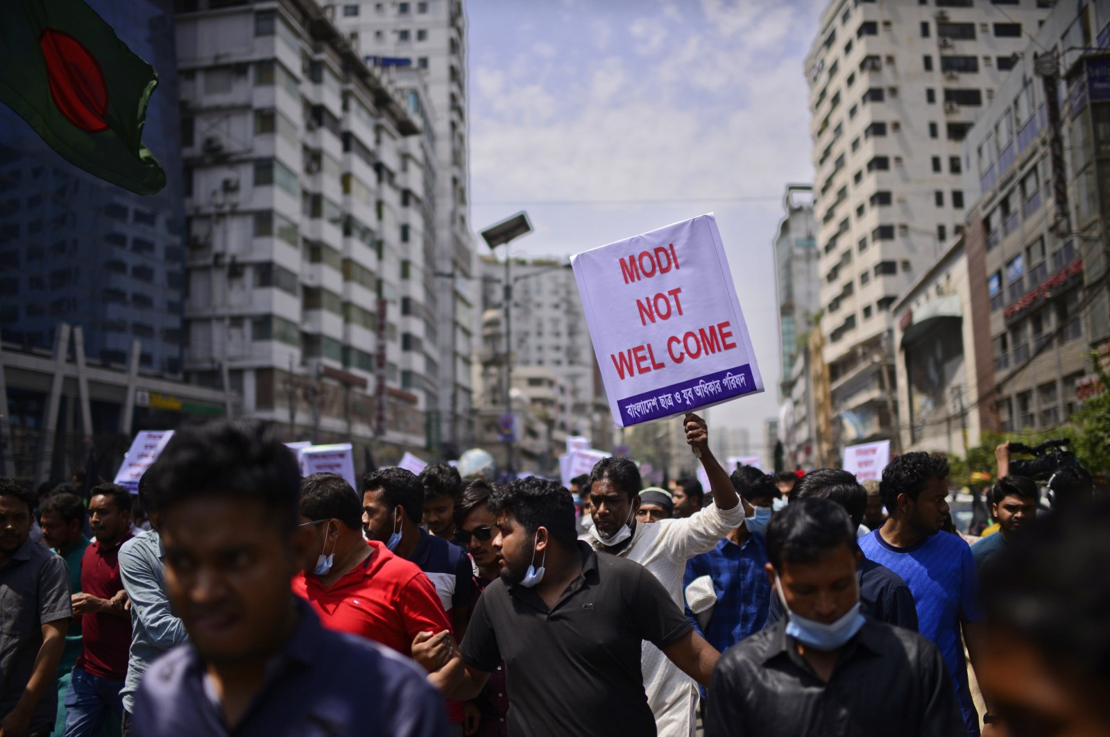 Bangladeshis shout slogans against the visit of Indian Prime Minister Narendra Modi in Dhaka, Bangladesh, March 25, 2021. (AP Photo)