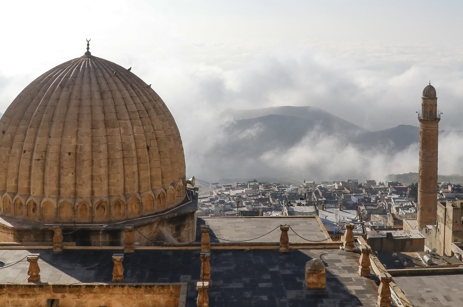 This picture dated March 25, 2021 shows the iconic dome of Mardin's 12th century Grand Mosque (Ulu Cami) overlooking the Mesopotamian plains, in southeastern Turkey. (DHA Photo)