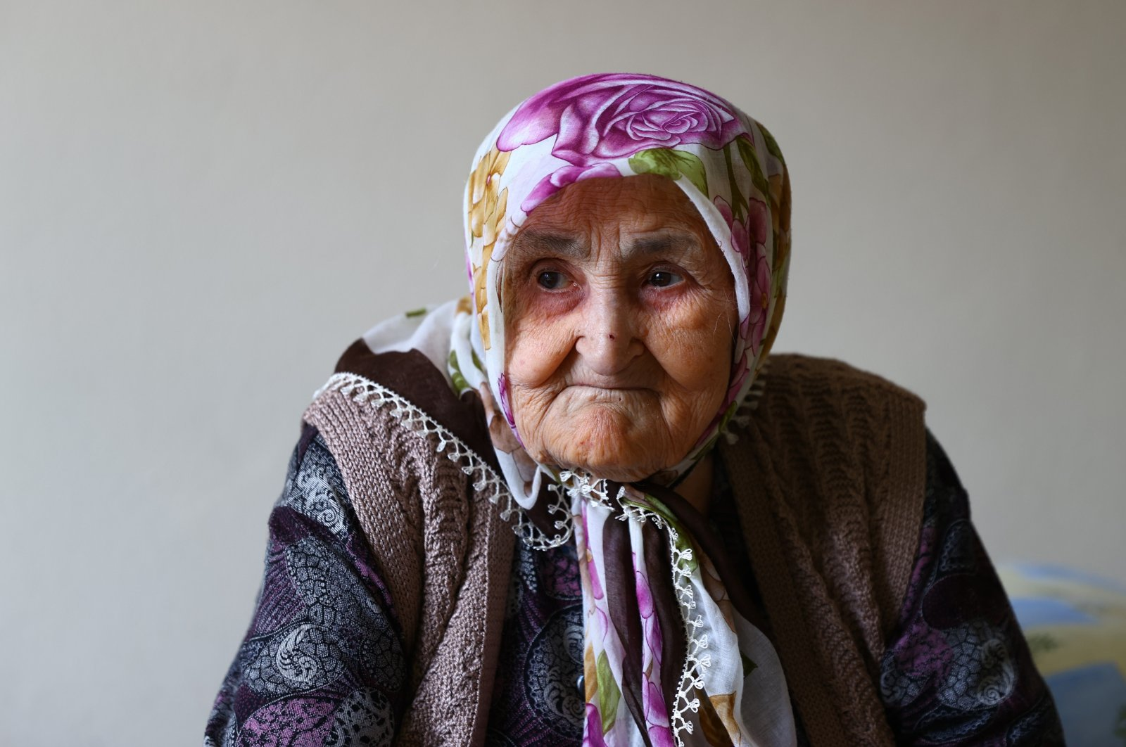 106-year-old Safiye Pehlivan listens during an interview at her home in Edirne, Turkey, March 23, 2021. (AA Photo)