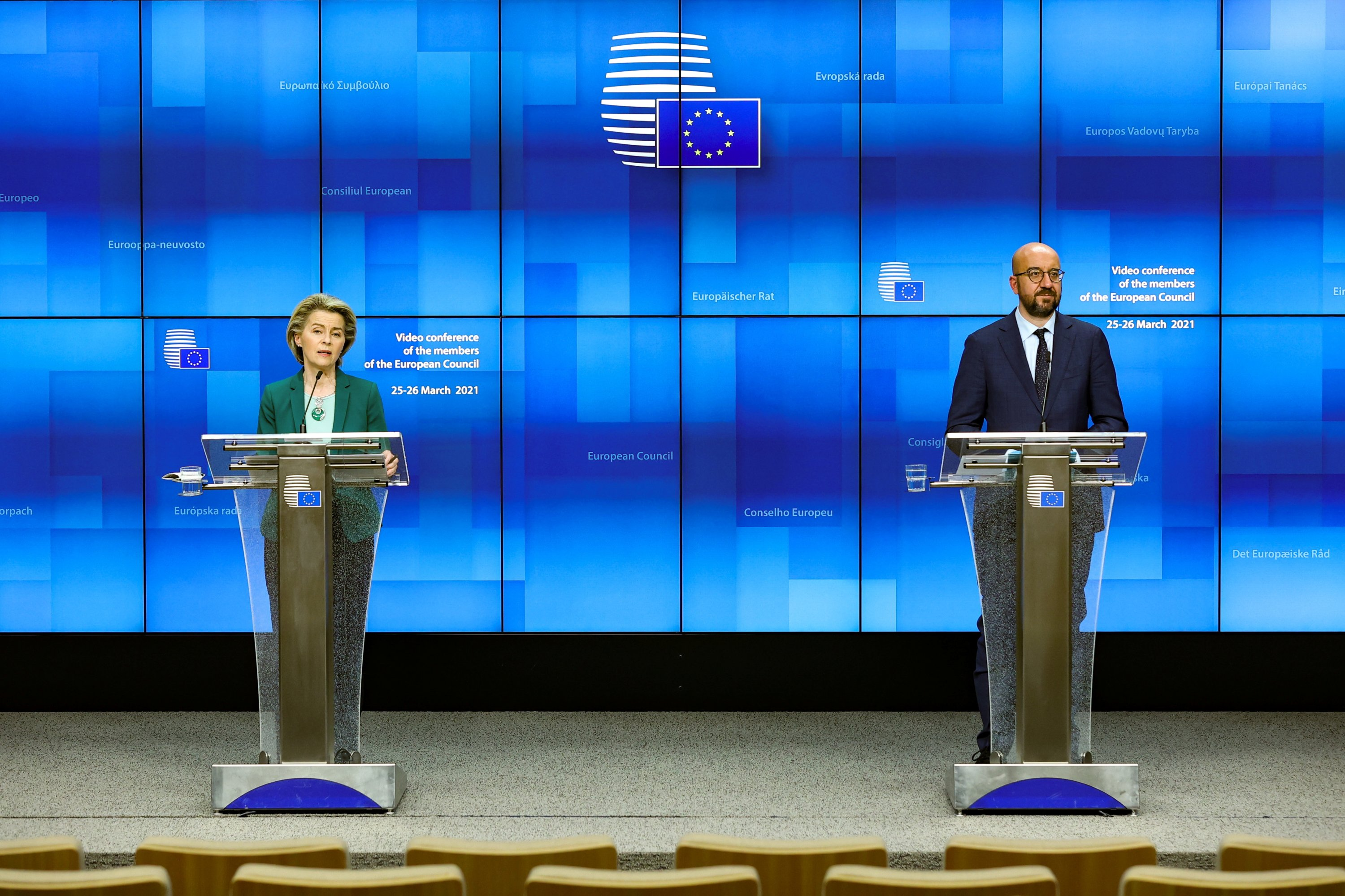 European Commission President Ursula von der Leyen (L) and European Council President Charles Michel deliver a joint press conference at the end of the first day of a European Union (EU) summit over video conference at the European Council Building in Brussels, Belgium, March 25, 2021.  (REUTERS)