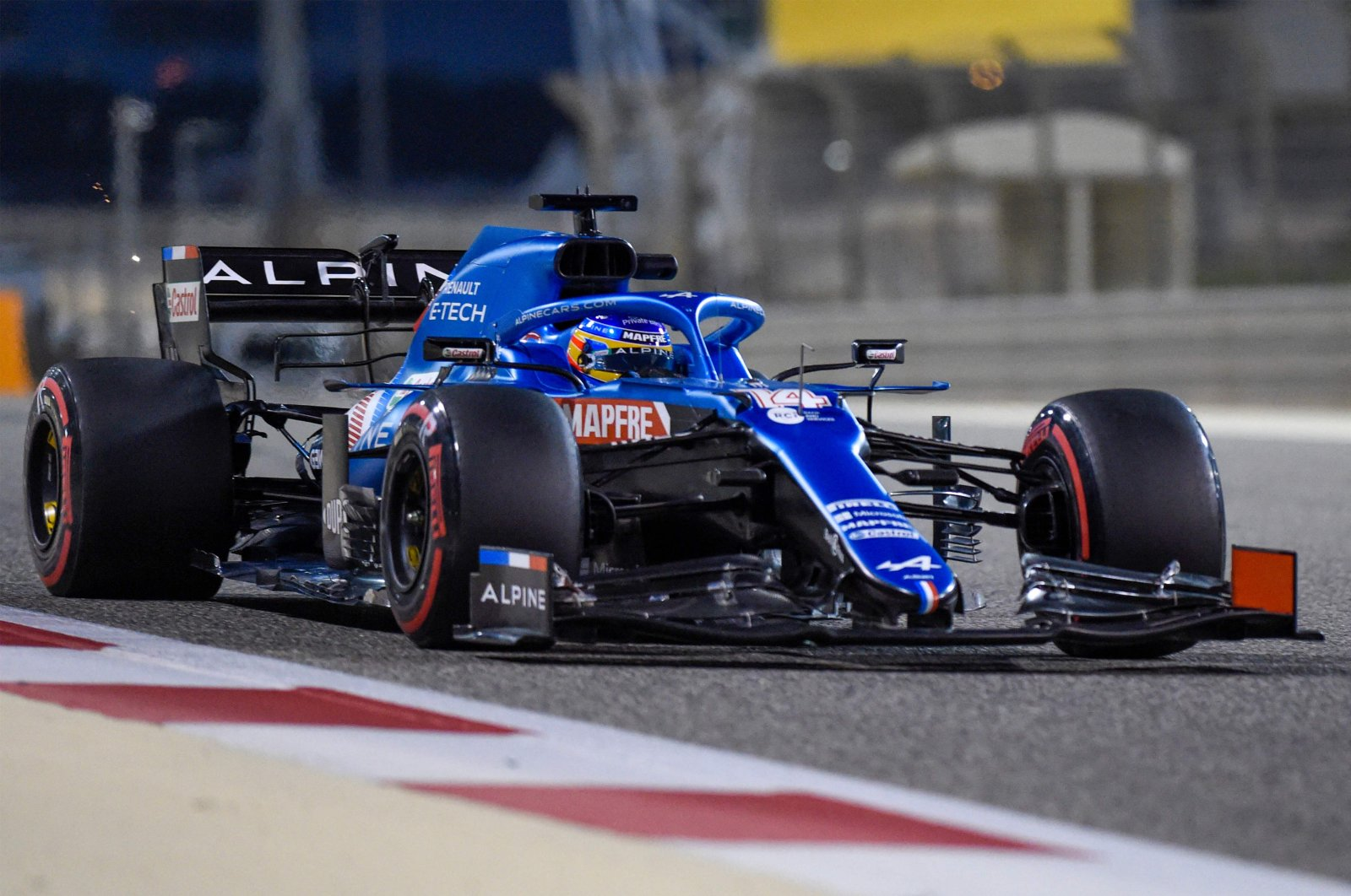 Alpine driver Fernando Alonso in action during the third day of the Formula One pre-season testing at the Bahrain International Circuit, in Sakhir, Bahrain, March 14, 2021. (AFP Photo)