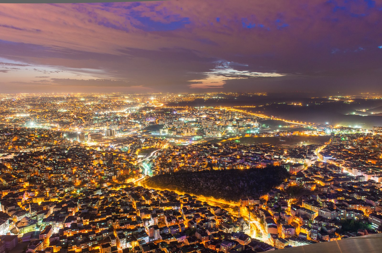 An aerial night-time view of Istanbul shows excessive light pollution in the city, Istanbul, Turkey. (Shutterstock Photo)