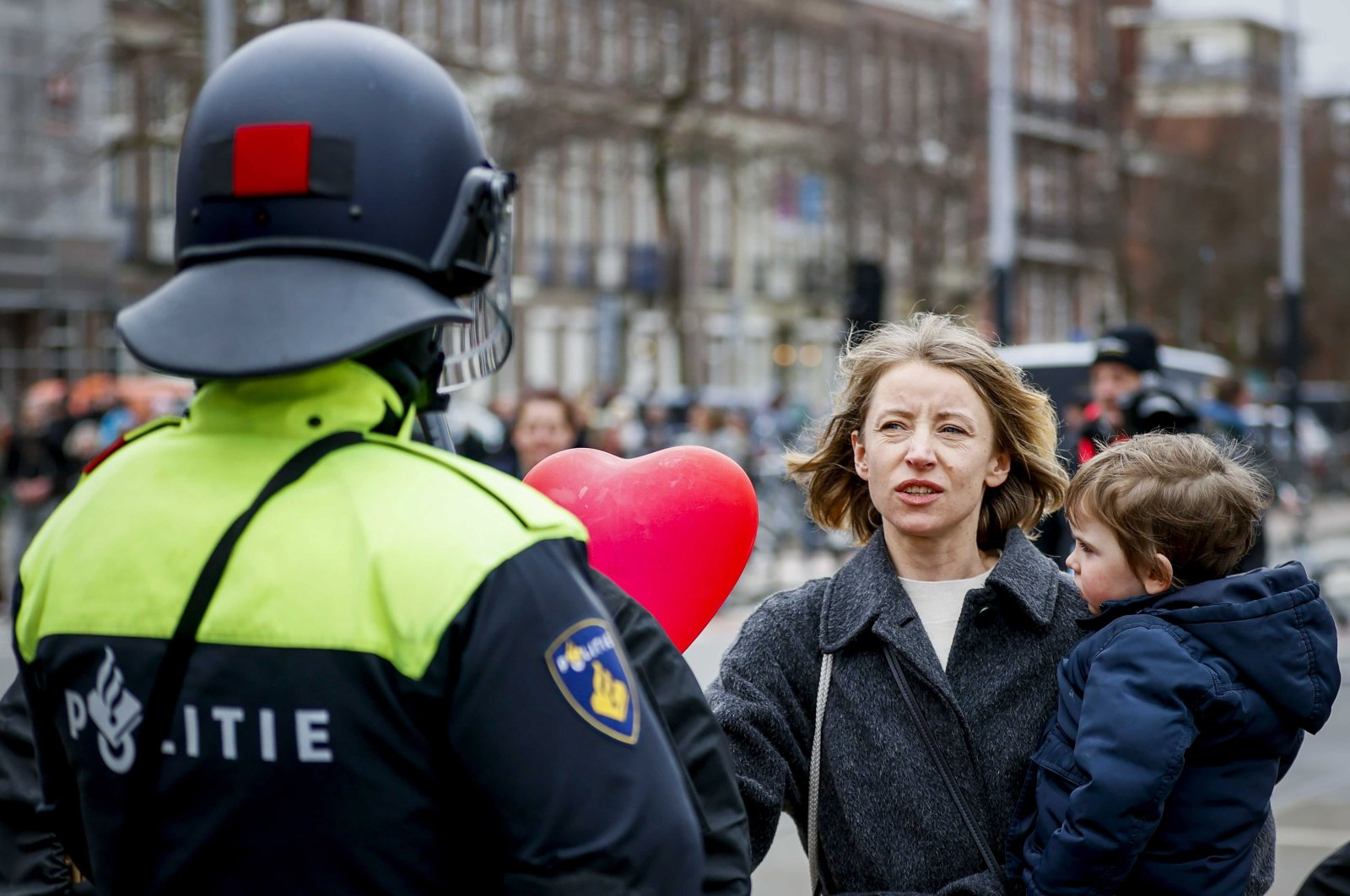 Police start clearing the area from protesters on the Museumplein during a demonstration against mayor Halsema, Amsterdam, the Netherlands, March 21, 2021. (EPA Photo)