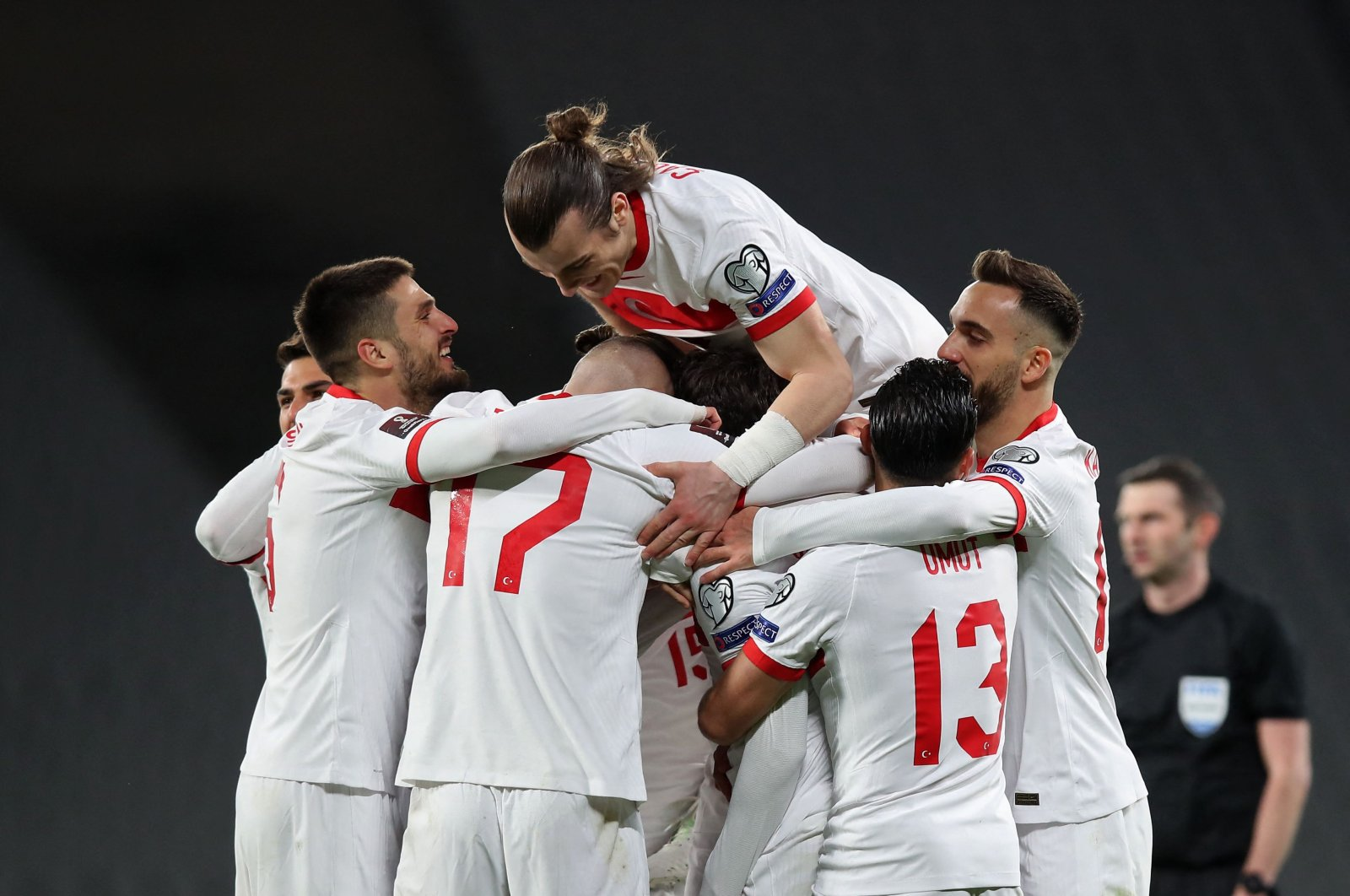 Turkey players celebrate after a goal in the FIFA World Cup Qatar 2022 qualification match against The Netherlands at the Atatürk Olympic Stadium, in Istanbul, Turkey, March 24, 2021. (AFP Photo)