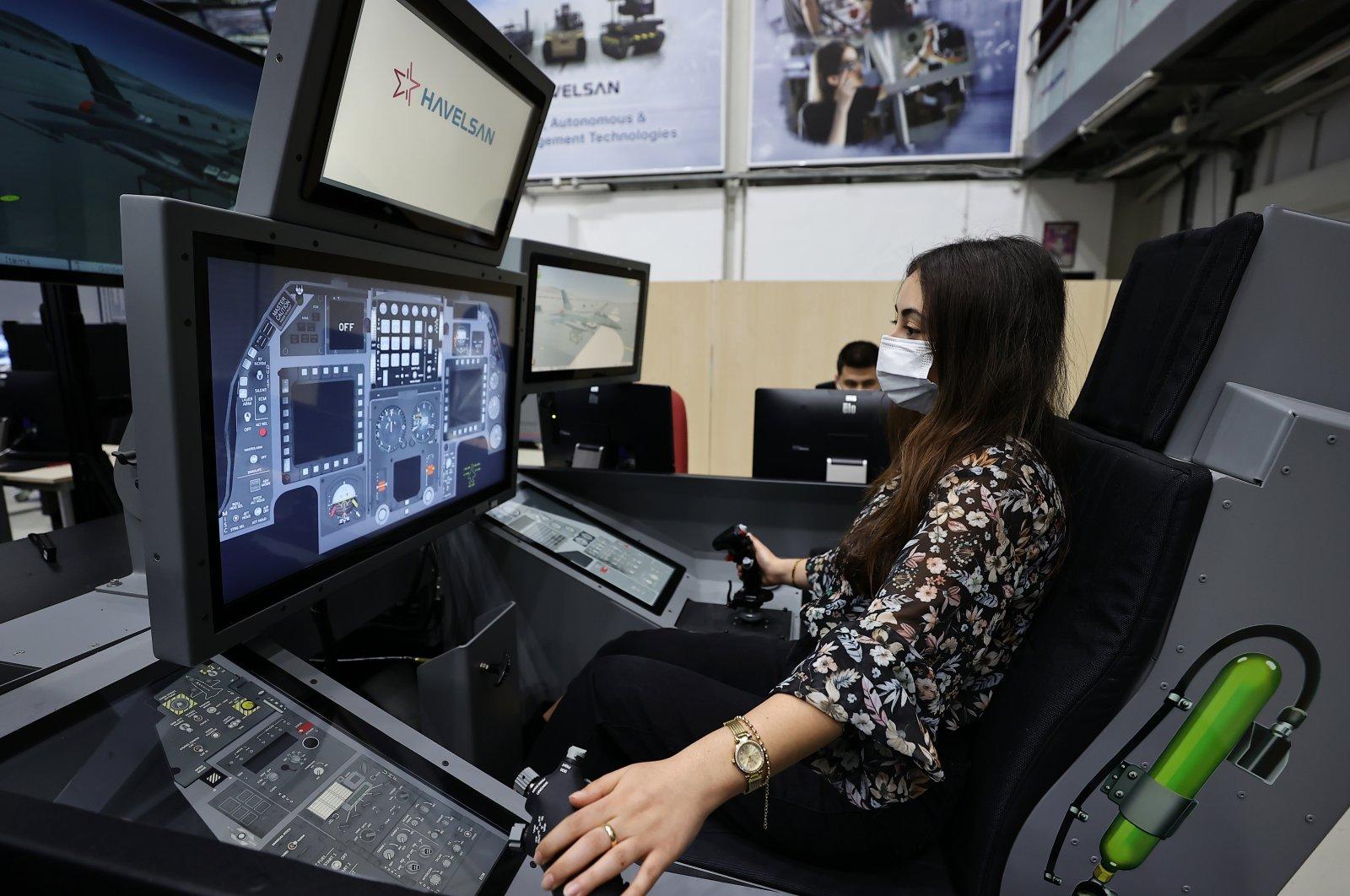 The F-16 Maintenance Training Simulator developed by Havelsan, Ankara, Turkey, March 26, 2021. (AA Photo)