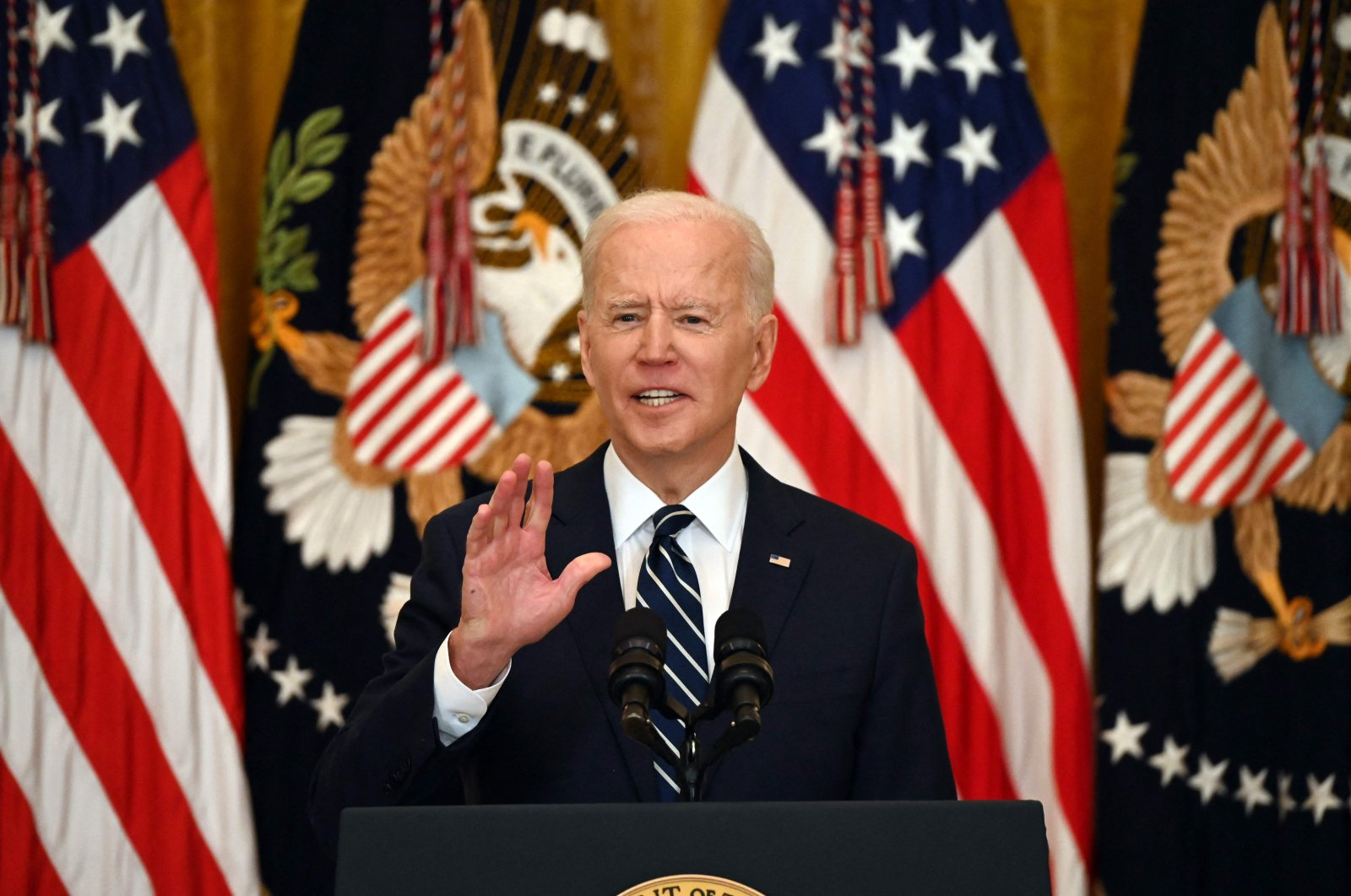 U.S. President Joe Biden answers a question during his first press briefing in the East Room of the White House, Washington, D.C., U.S., March 25, 2021. (AFP)