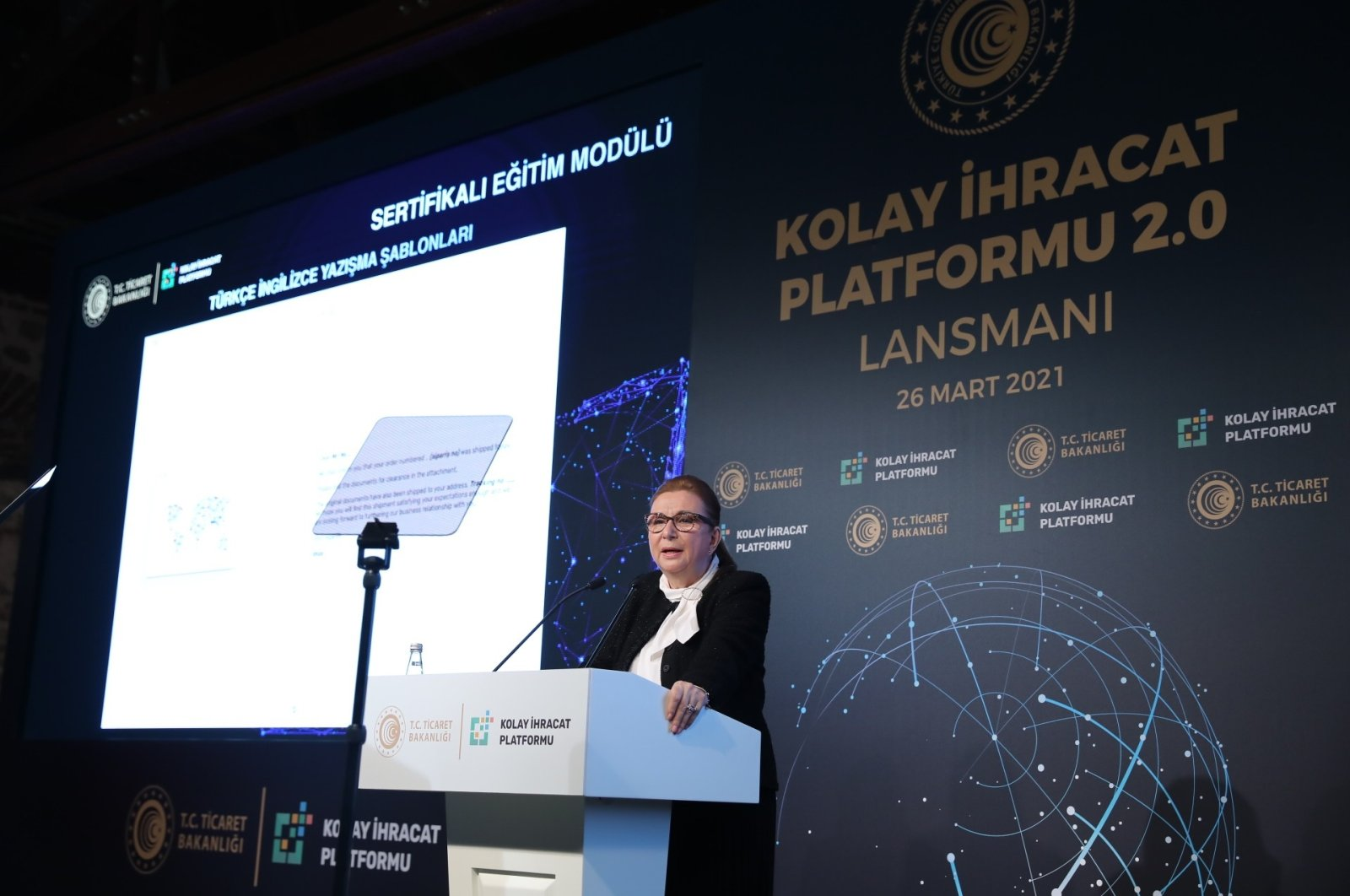 Trade Minister Ruhsar Pekcan speaks during the Easy Export Platform 2.0 launch meeting held at the Presidency's Dolmabahçe Office, Istanbul, Turkey, March 26, 2021. (IHA Photo)