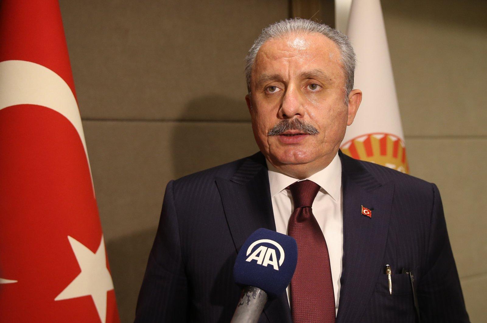Turkish Parliament Speaker Mustafa Şentop speaks following a conference in Turkey's southern province of Antalya, Turkey, March 25, 2021. (AA Photo)