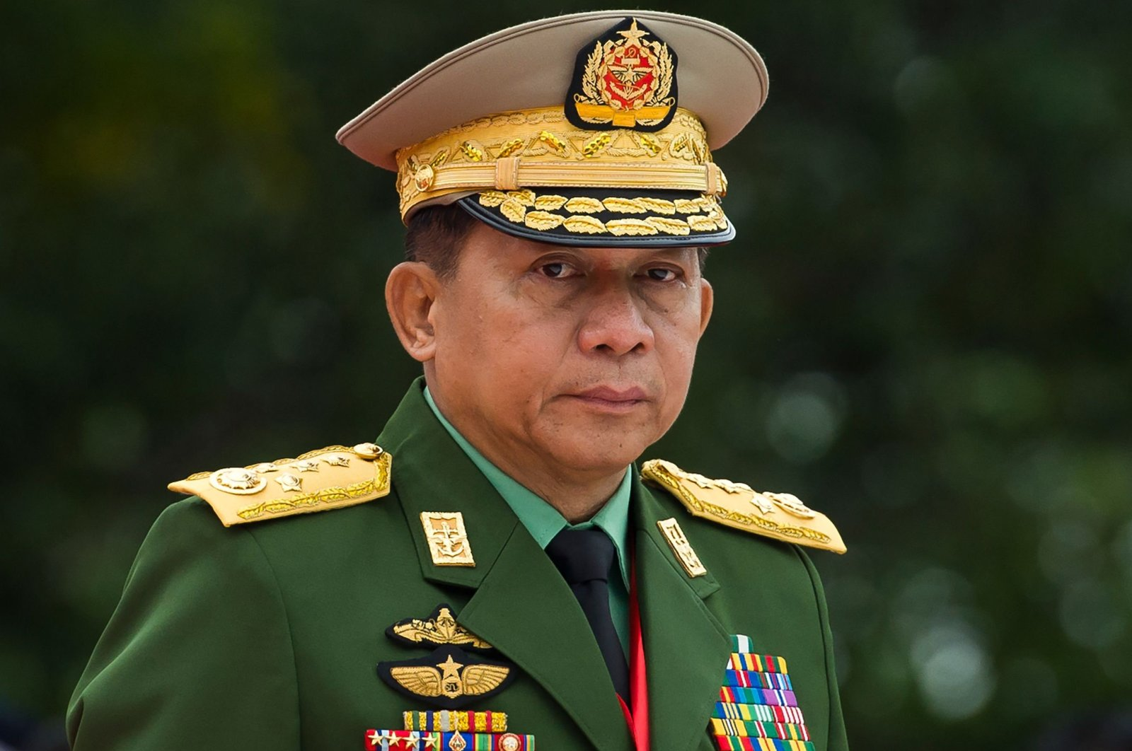 Myanmar's Chief Senior General Min Aung Hlaing, commander-in-chief of the Myanmar armed forces, arrives at a ceremony to mark the 71st anniversary of Martyrs' Day in Yangon, Myanmar, July 19, 2018. (AFP Photo)