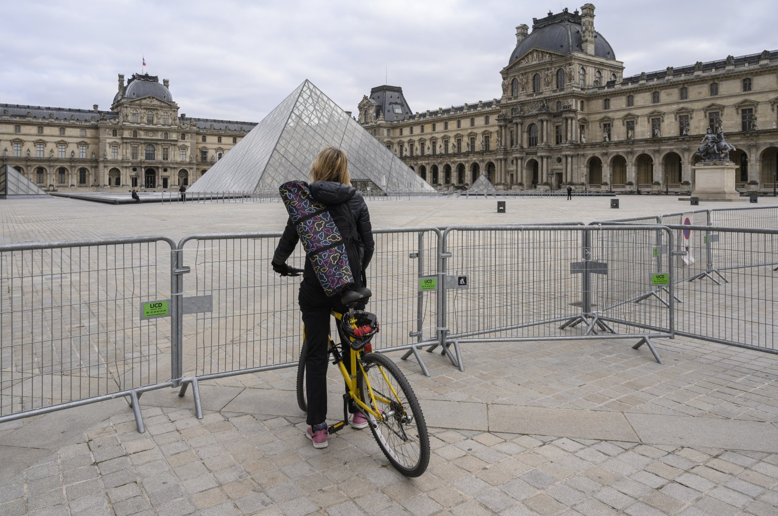 The Louvre is seen cordoned off as the COVID-19 lockdown in France closes the museum to visitors, Paris, France, March 22, 2021. (Photo by Julien Mattia via AA)