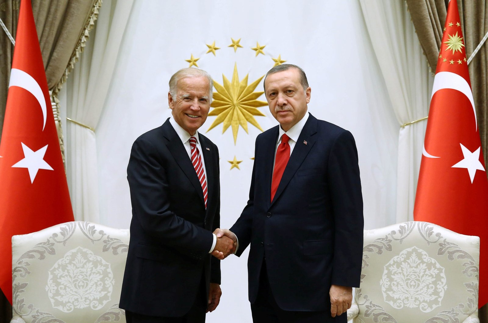 President Recep Tayyip Erdoğan meets with U.S. then-Vice President Joe Biden at the Presidential Complex in Ankara, Turkey, Aug. 24, 2016. (Reuters File Photo)