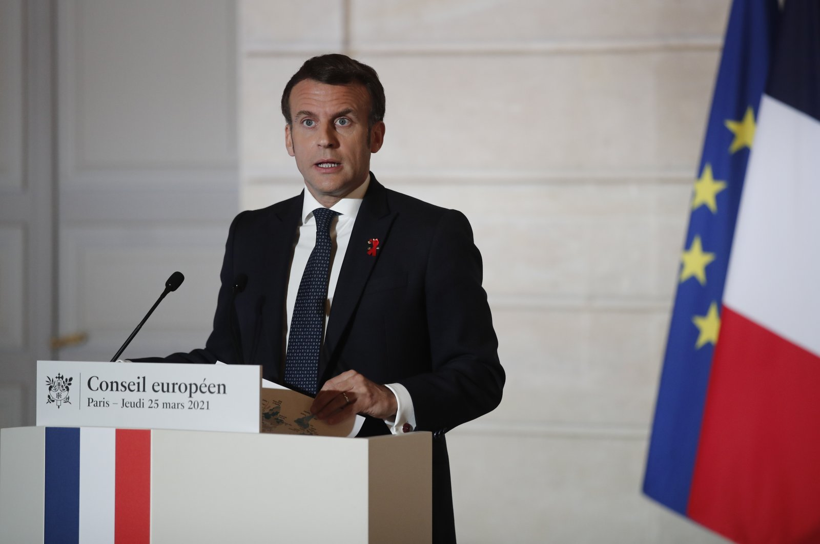 French President Emmanuel Macron speaks during a press conference after a European Council summit held over videoconference at the Elysee Palace in Paris, France, March 25, 2021.  (EPA Photo)