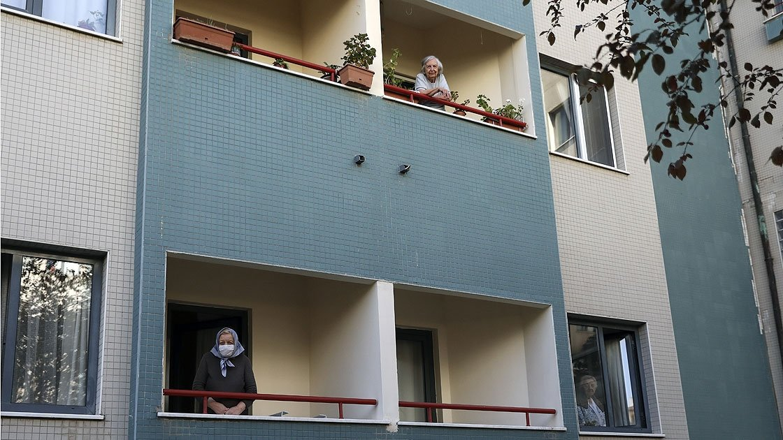 Residents on their balconies at a nursing home in the capital Ankara, Turkey, May 8, 2020. (AA PHOTO)