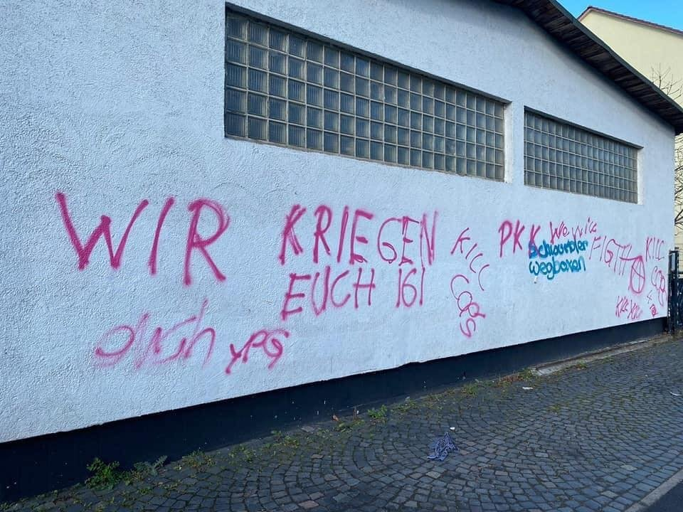 "The wall of a Turkish mosque where PKK attackers wrote ""We will get you"" in German, Kassel, Germany, March 27, 2021. (IHA)"