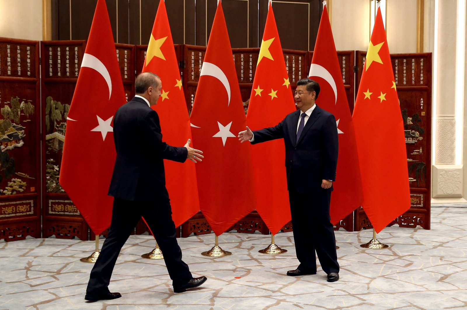 President Recep Tayyip Erdoğan (L) meets with Chinese President Xi Jinping in Hangzhou, China, Aug. 3, 2016 (Sabah File Photo)