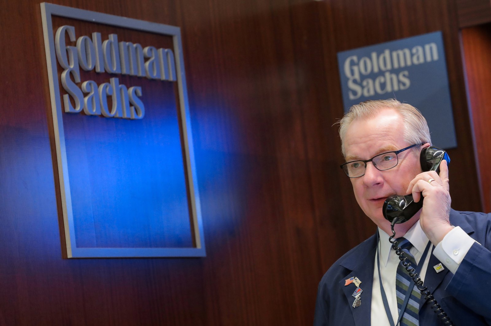 A trader works inside the Goldman Sachs booth on the floor of the New York Stock Exchange (NYSE) in New York, U.S., March 7, 2019. (Reuters Photo)