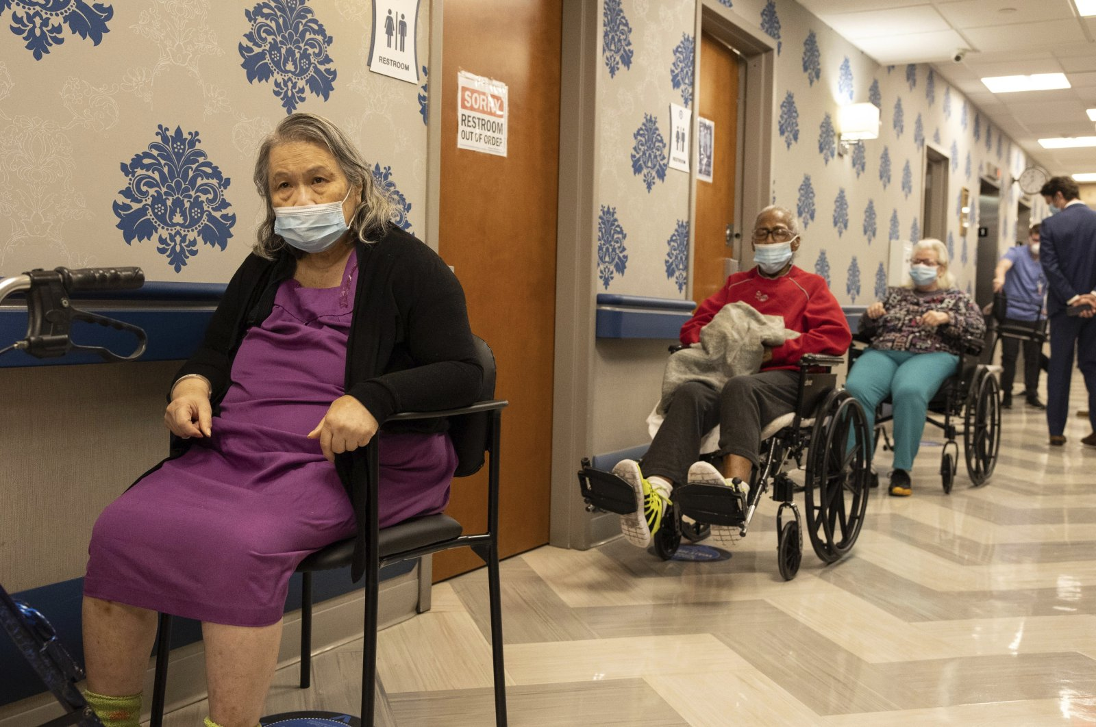 In this Jan. 15, 2021, file photo, nursing home residents wait in line for the COVID-19 vaccine at the Harlem Center for Nursing and Rehabilitation, a nursing home facility, in the Harlem neighborhood of New York City, U.S. (AP photo)