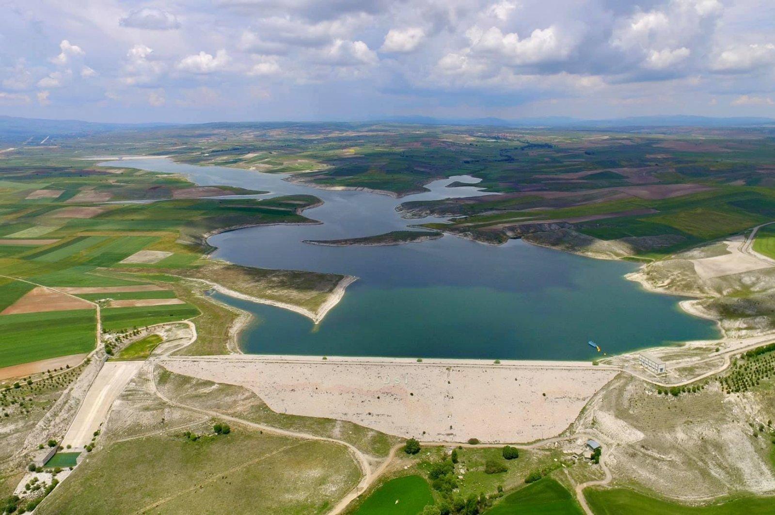 A view of Akdeğirmen dam which has little water, in Afyon, western Turkey, Mar. 22, 2021. (İHA PHOTO)