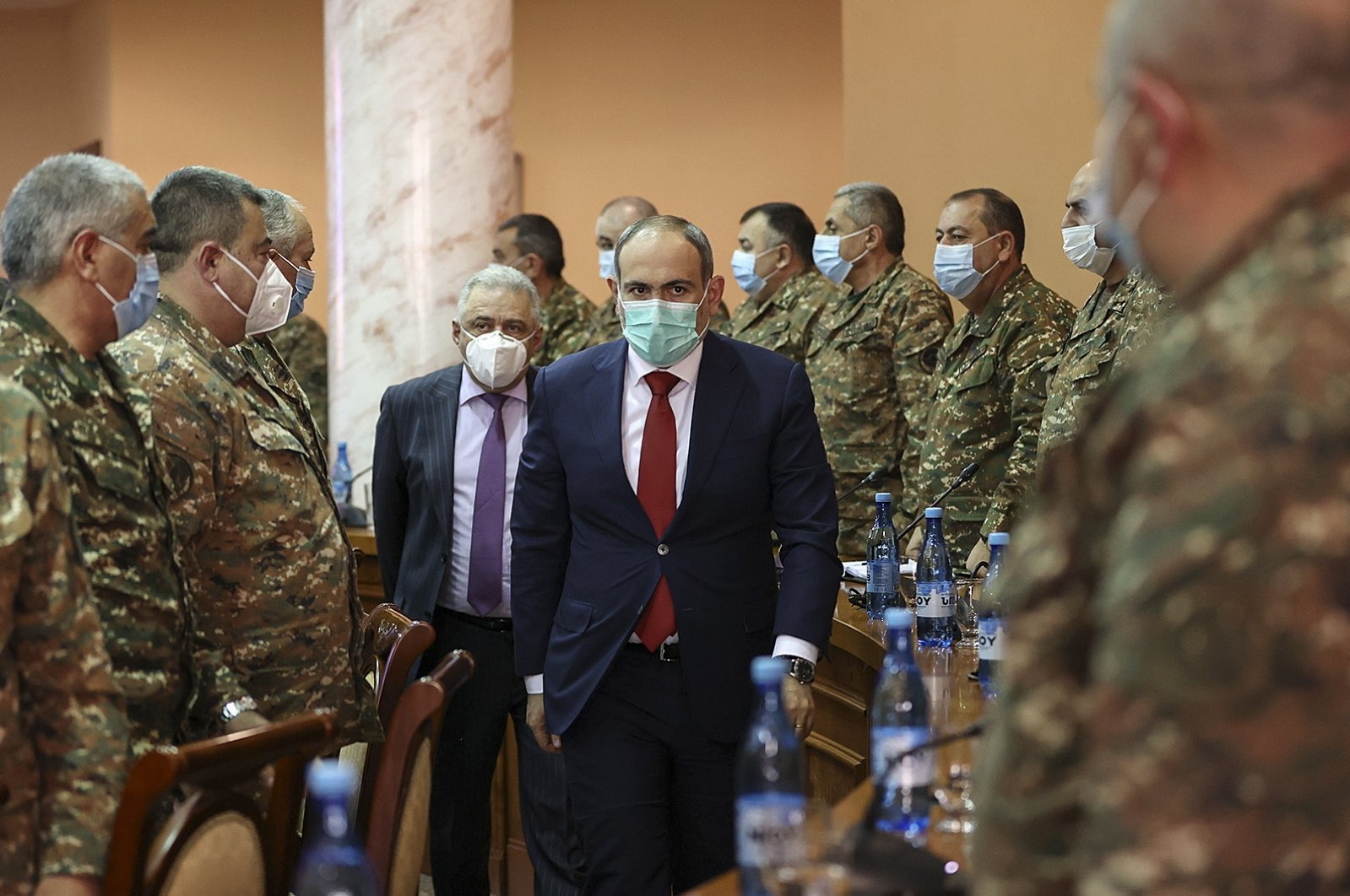 Armenian Prime Minister Nikol Pashinyan (C-R), during a meeting for consultation with the highest officers of the armed forces in Yerevan, Armenia, March 10, 2021. (EPA Photo)