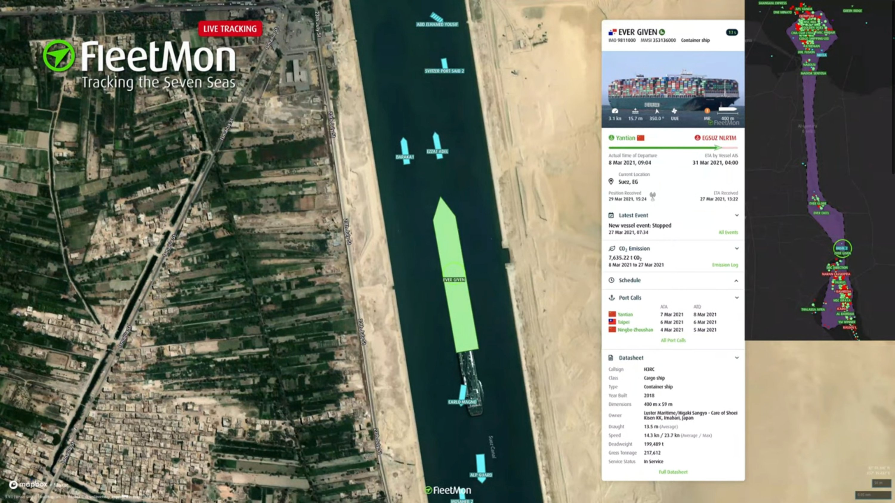 Container ship Ever Given that ran aground in the Suez Canal, Egypt, is seen in a new position in this screengrab taken from a live tracking stream, March 29, 2021. (FleetMon via Reuters)