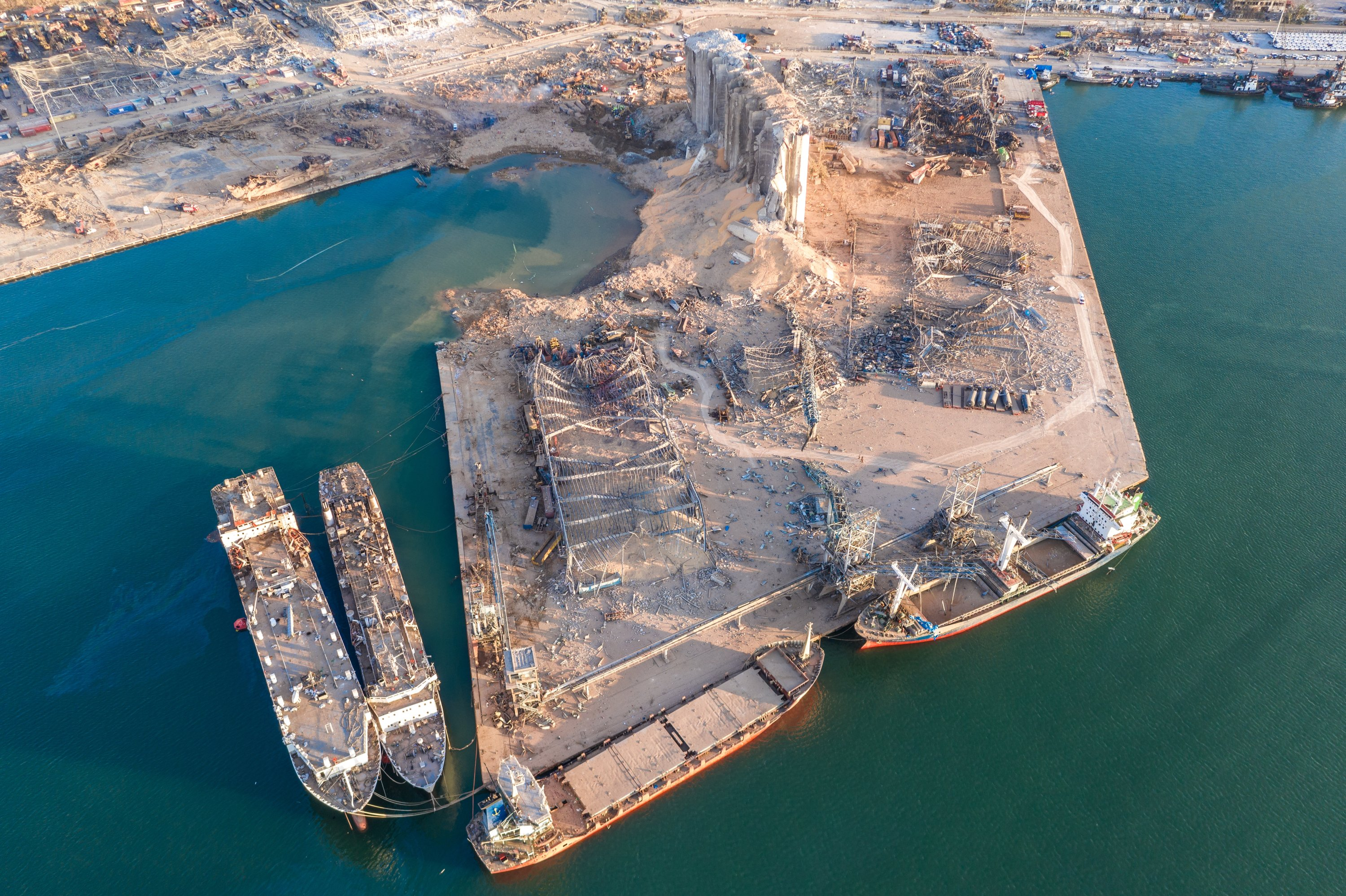 An aerial view of ruined structures at the port, damaged by an explosion a day earlier, Beirut, Lebanon, Aug. 5, 2020. (Photo by Getty Images)