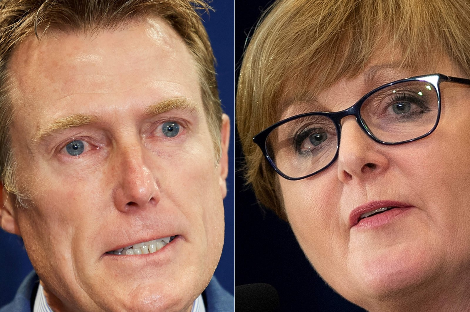 Australian then-Attorney General Christian Porter (L) at a press conference in Perth, Australia on March 3, 2021, and Australian then-Defense Minister Linda Reynolds (R) at a press conference with the U.S. State Department following the 30th AUSMIN, Washington, D.C., U.S., July 28, 2020. This combination of file photos was created on March 29, 2021. (AFP Photo)