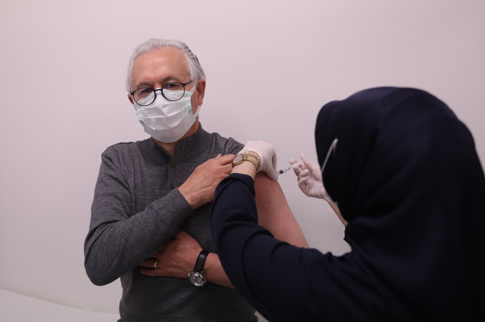 A man gets vaccinated at a hospital, in the capital Ankara, Turkey, March 29, 2021. (AA PHOTO)