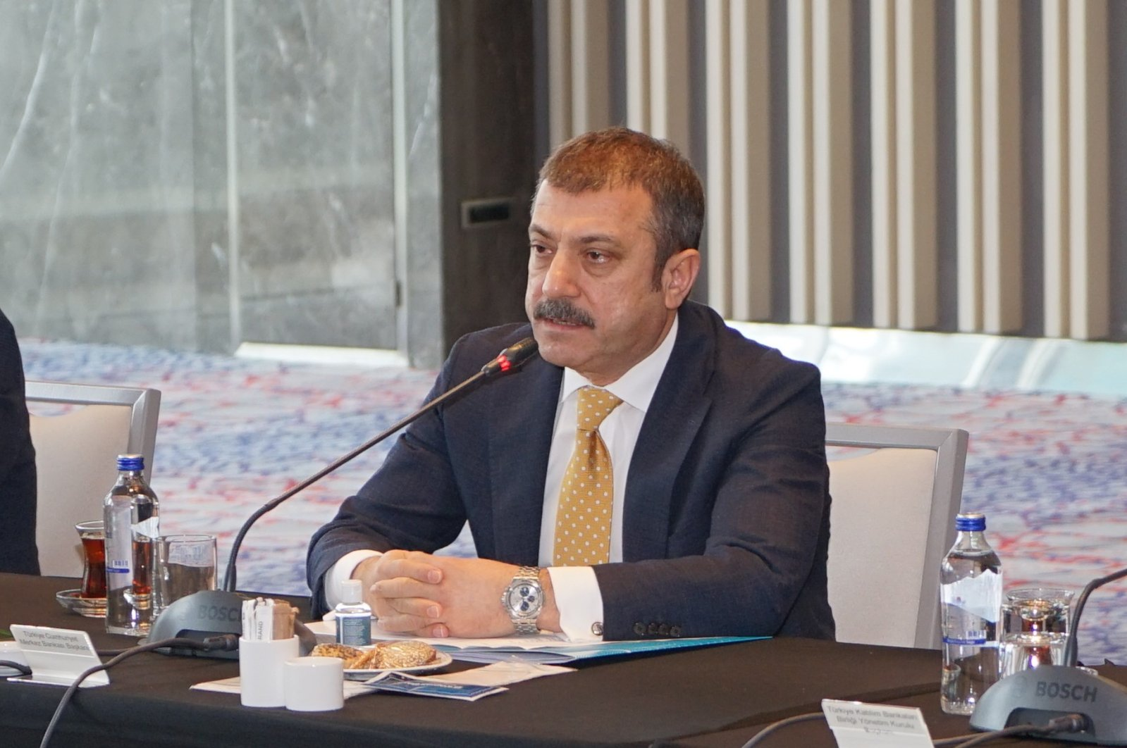Central Bank of the Republic of Turkey (CBRT) Governor Şahap Kavcıoğlu during a meeting with general managers from a few banks, Istanbul, Turkey, March 24, 2021. (CBRT via DHA)