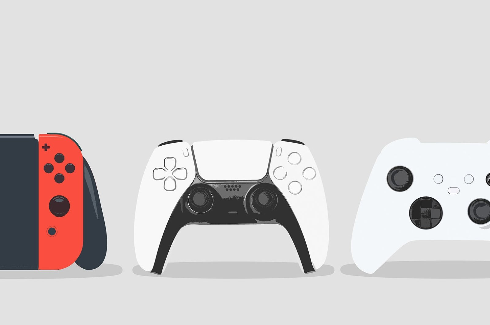 Controllers of gaming consoles (L-R): Nintendo Switch, PlayStation 5, XBox Series X. (Shutterstock Photo)