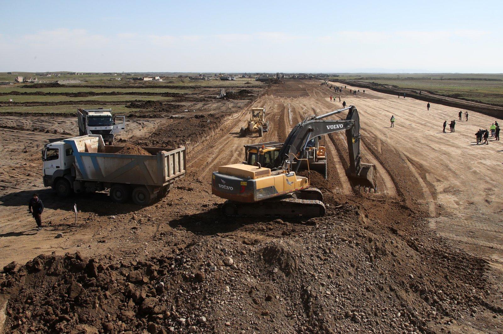 The construction site of a runway at Fuzuli International Airport, Fuzuli district, Nagorno-Karabakh, Azerbaijan, Feb. 27, 2021. (Photo by Getty Images)