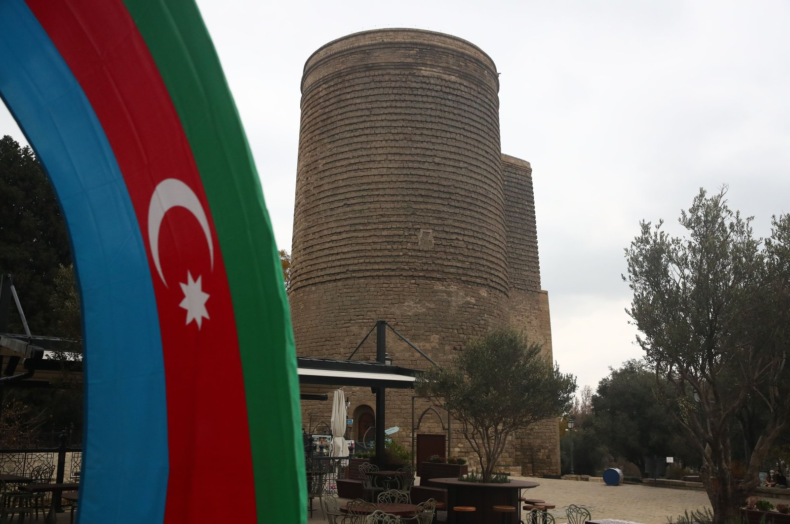 The flag of Azerbaijan is seen against the background of the Maiden, Baku, Azerbaijan, Dec. 9, 2020 (Getty Images)