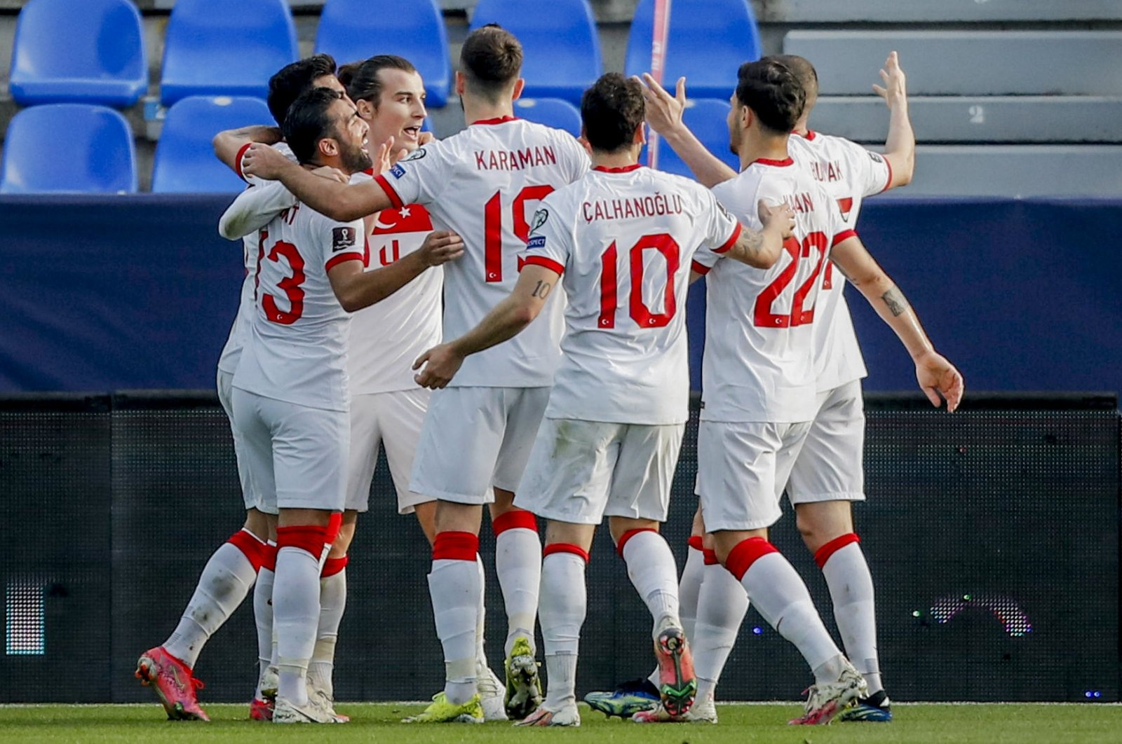 Turkish national team players a goal against Norway in a World Cup 2022 Group G qualifying match at La Rosaleda stadium, Malaga, Spain, March 27, 2021. (AP Photo)