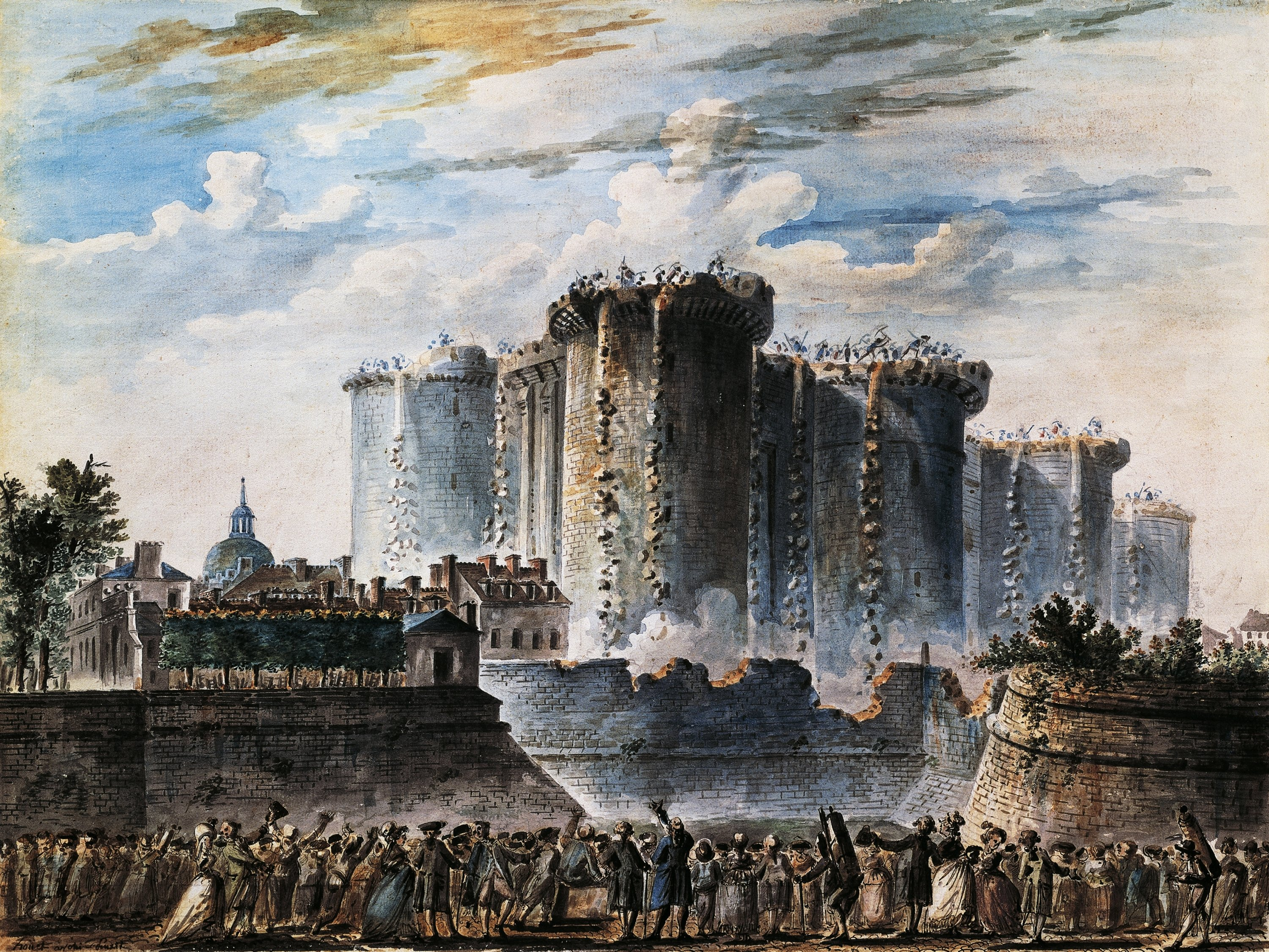 A gouache by 18th-century French painter Jean-Pierre Houal depicts the storming of the Bastille, a symbol of monarchial power, which became one of the flashpoints in the 1789 French Revolution. (Photo by Getty Images)