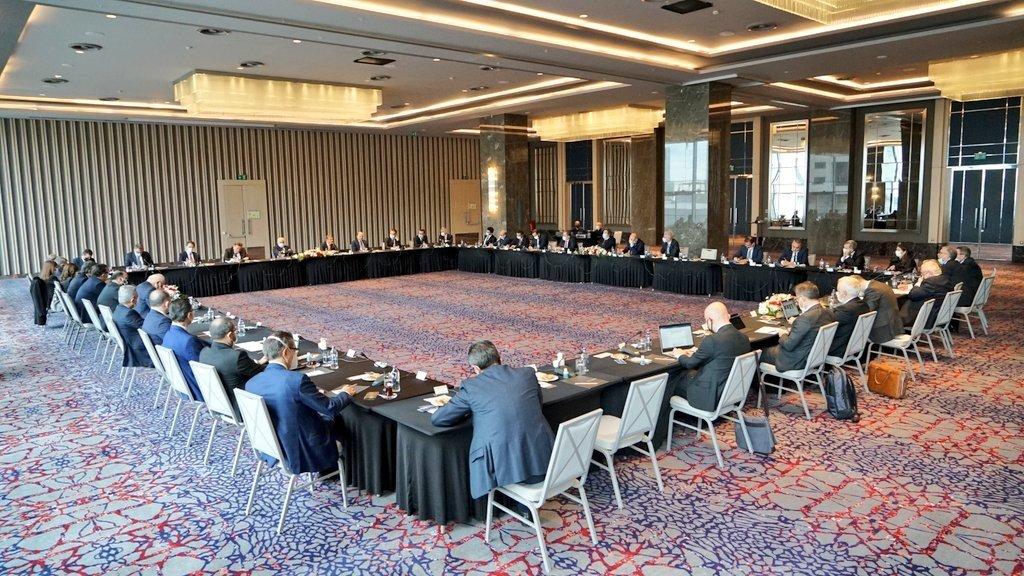 Central Bank of the Republic of Turkey (CBRT) Governor Şahap Kavcıoğlu meets with some banks' general managers, Istanbul, Turkey, March 24, 2021. (CBRT via AA)