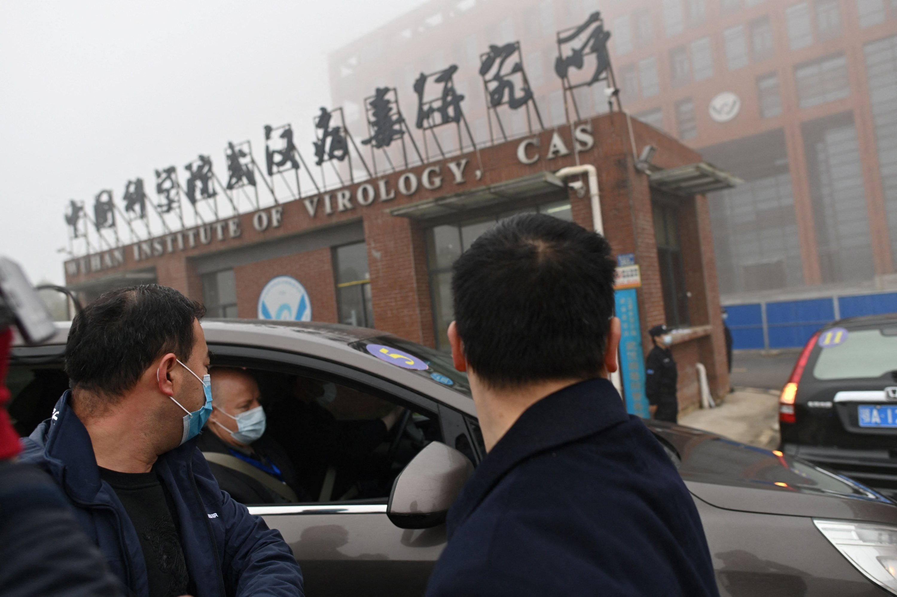 Members of the World Health Organization (WHO) team investigating the origins of the coronavirus arrive by car at the Wuhan Institute of Virology in Wuhan, Hubei province, central China, Feb. 3, 2021. (Photo by HECTOR RETAMAL / AFP)